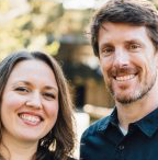 Amber and Logan, founders of HealingWaze, smiling in a park