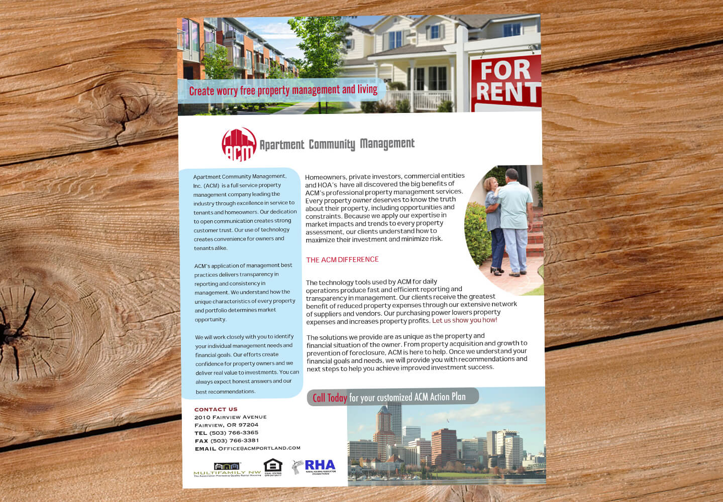 Apartment Community Management single page flier