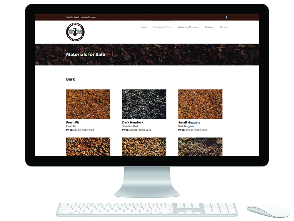 Section 30 materials website page showcasing the many types of materials S30M sells
