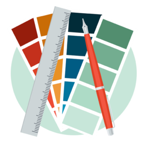 Graphic depicting design tools such as calligraphy pens, rulers and pantone color swatches.