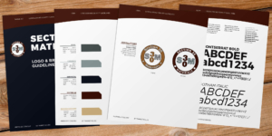 A few selected pages from the Section 30 Materials brand guidelines