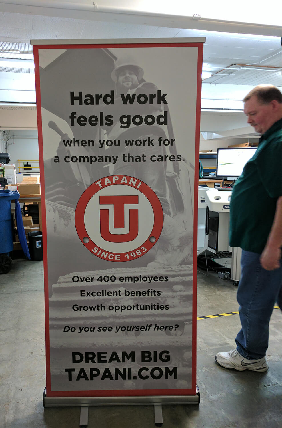 Stand-up banner, roughly 7 feet tall