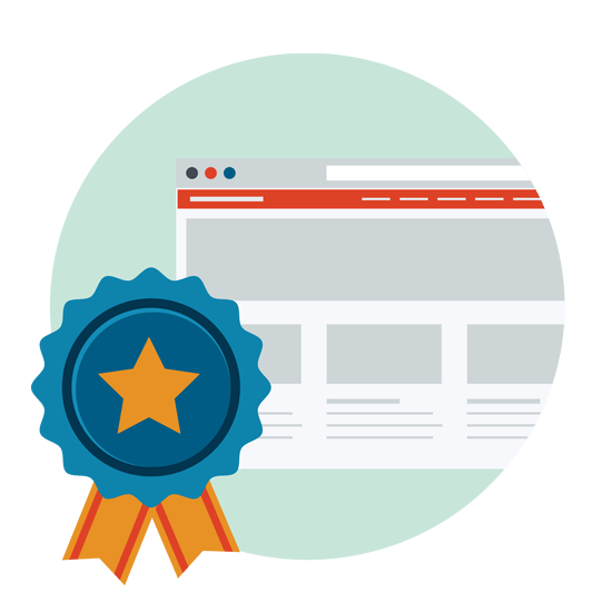 Graphic of a prize ribbon on a website